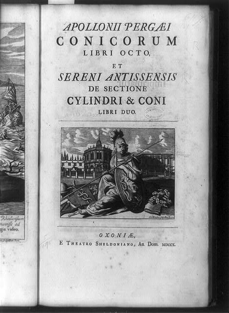 [Title page of Conicorum, with seated helmeted figure holding lance and shield in front of sheldonian Theater, Oxford, England]