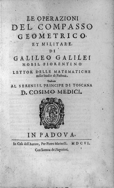 "[Title page of Le operazioni del compasso geometrico, et militaire; with device showing walking woman with banner ""Bondantie""]"