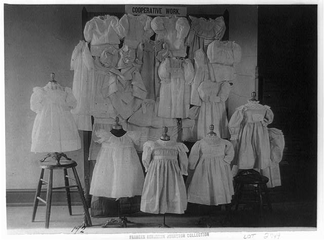 [Dresses, possibly made by students in a Washington, D.C. school, on display]