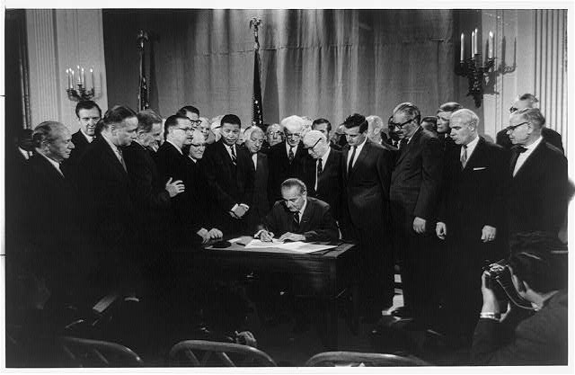 Lyndon Baines Johnson signing Civil Rights Bill, April 11, 1968