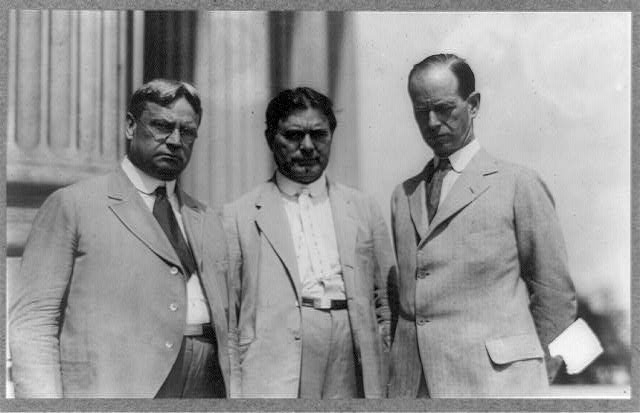 [Hiram Johnson, William Borah and Medill McCormick, posed, standing half-length]