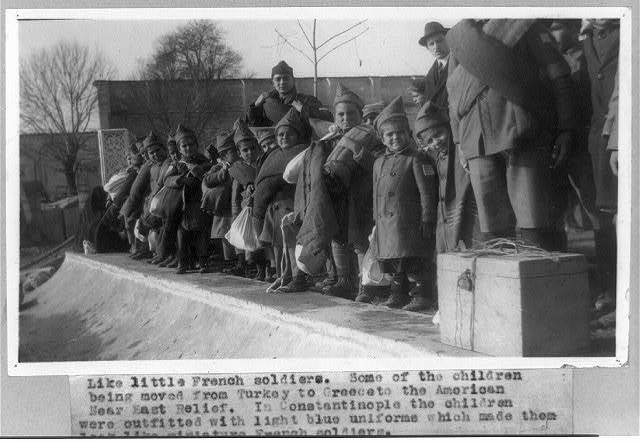 Like little French soldiers. Some of the children being moved from Turkey to Greece to the American Near East Relief