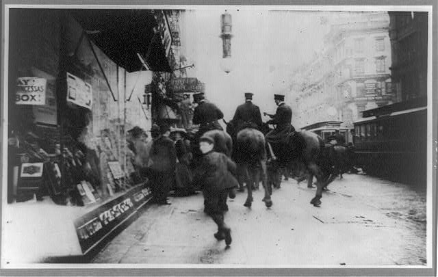 [Anarchist riot, police on horseback driving people, Broadway and 14th streets, New York]