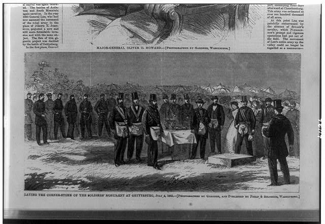 Laying the corner-stone of the Soldiers' Monument at Gettysburg, July 4, 1865