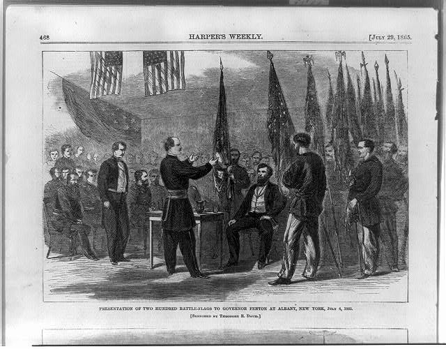Presentation of two hundred battle-flags to Governor Fenton at Albany, New York, July 4, 1865