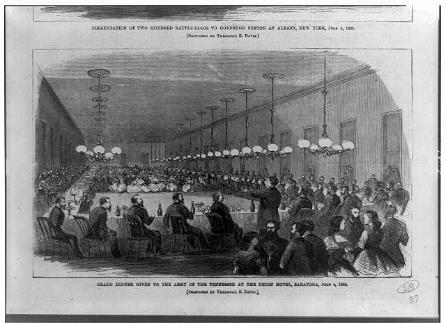 Grand dinner given to the Army of the Tennessee at the Union Hotel, Saratoga, July 4, 1865