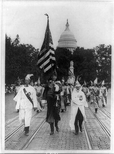 Leading the Klu [sic] Klux Klan parade which was held in Washington, D.C. today; on the right is Mr. J.M. Fraser ... from Houston, Texas