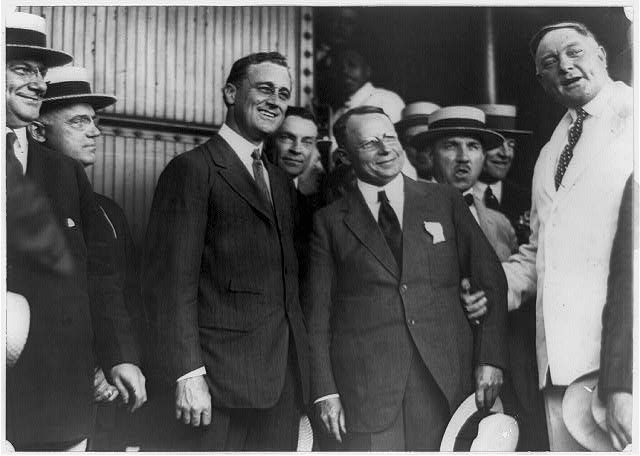 Franklin D. Roosevelt and Governor Cox photographed on the latter's arrival in Washington today