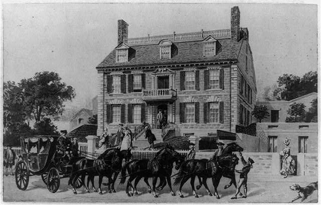[Boston, Mass., Gov. John Hancock mansion with carriage drawn by six horses in foreground]
