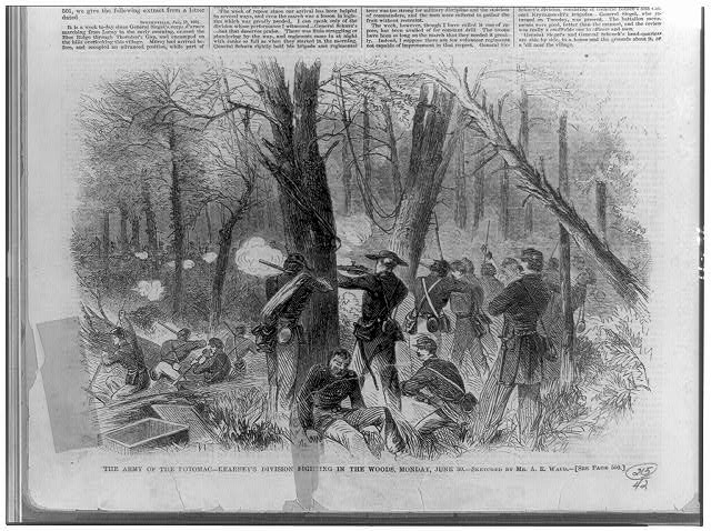 The Army of the Potomac--Kearney&#39;s division fighting in the woods, Monday, June 30