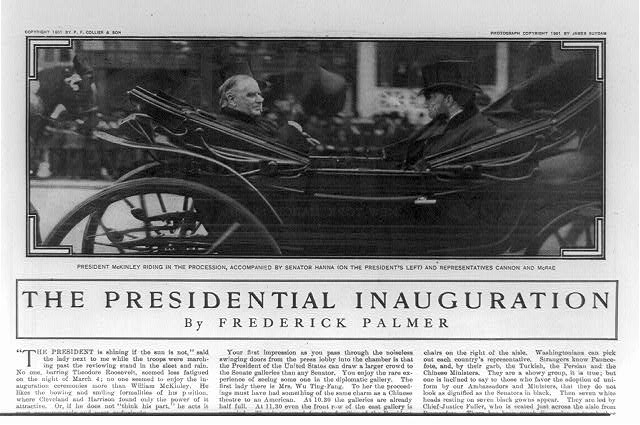President McKinley riding in the procession, accompanied by Senator Hanna (on the President&#39;s left) and Representatives Cannon and McRae