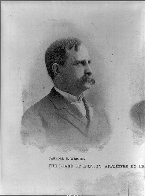 [Caroll D. Wright, member of board of inquiry appointed by President Cleveland to investigate recent Pullman Co. railway strike, head-and-shoulders portrait, facing right]