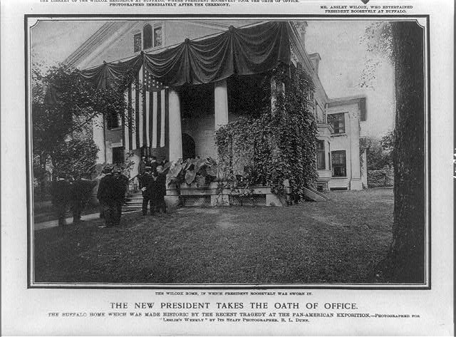 The new president takes the oath of office. The Wilcox home in which President Roosevelt was sworn in
