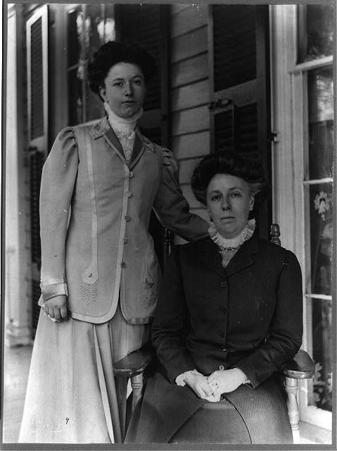 [Helen Herron Taft, three-quarter length portrait, seated on porch, facing left, with daughter Helen standing]