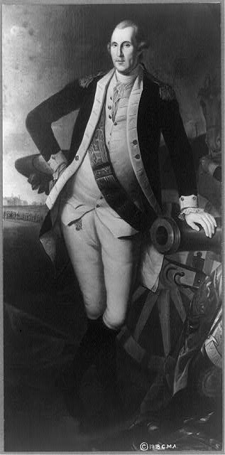 [George Washington, full-length portrait, standing, facing left, in uniform, with right hand on hip and left hand on barrel of cannon]