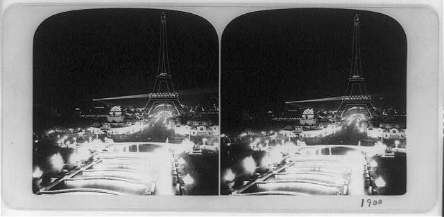 The Paris Exposition at night showing illuminations