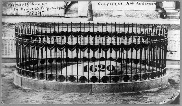 "Plymouth Rock, in front of Pilgrim Hall, ""1834"""