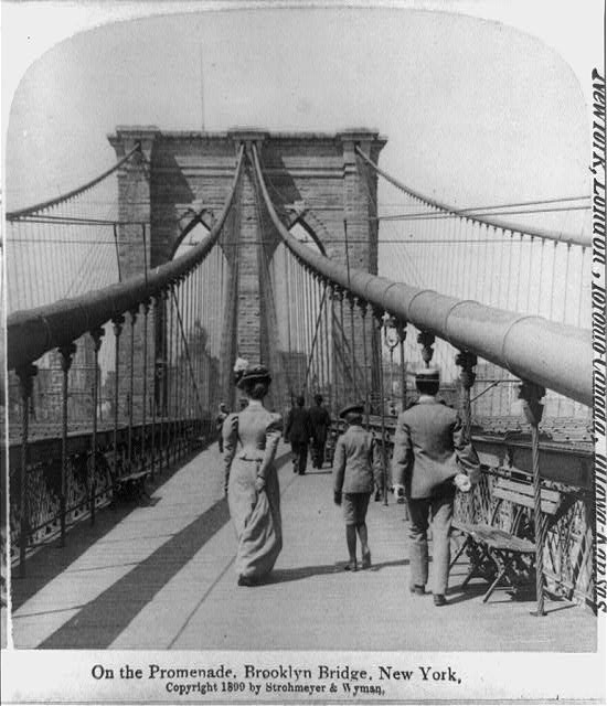 On the promenade, Brooklyn Bridge, New York