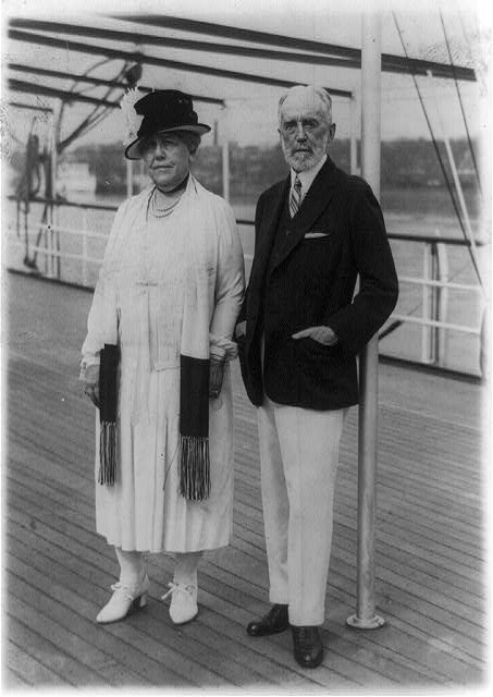 Host and hostess to the President and Mrs. Coolidge, Cyrus H.K. Curtis with Mrs. Curtis, snapped on board their yacht Lydonia, now anchored off Haines [i.e. Hains] Point in the Potomac River and on which the President and Mrs. Coolidge where [sic] entertained at luncheon