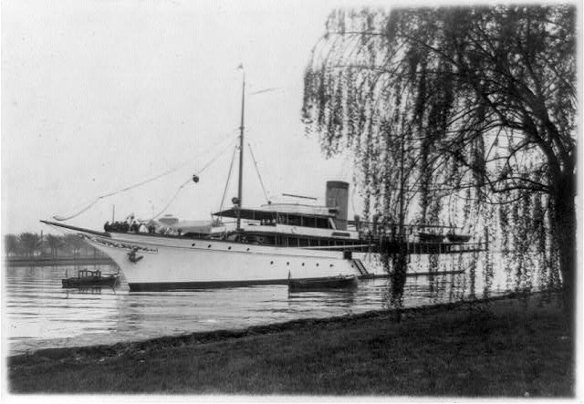 "Where President and Mrs. Coolidge were entertained today; ""Lydonia,"" the yacht of Cyrus H. K. Curtiss [i.e. Curtis], now anchored off Haines [i.e. Hains] Point in the Potomac River on which the President and Mrs. Coolidge were entertained at luncheon today"