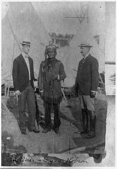 [Geronimo and two other men posed standing, full length at Pan-American Exposition, Buffalo, N.Y.]