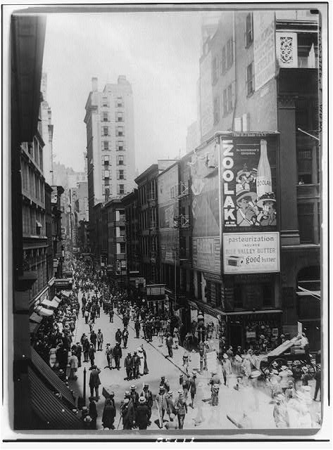 [Nassau St. north from Liberty, New York City crowded with pedestrians]