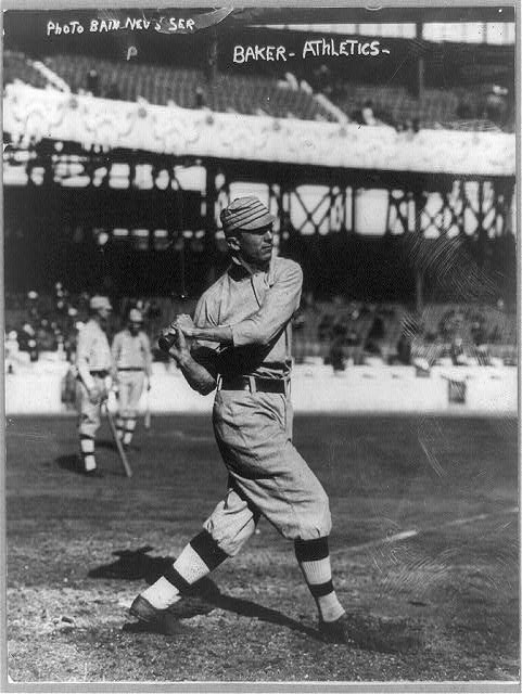 [John Franklin Baker, baseball player for Philadelphia Athletics, swinging bat]