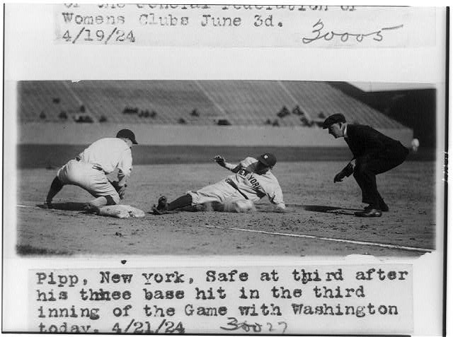 [Baseball player Pipp of New York sliding into third base in game with Washington]