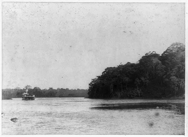[River steamer Irma near Machuca Rapids, on San Juan River, in Nicaragua]
