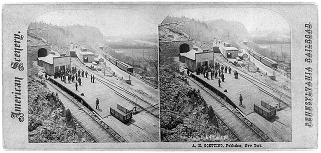 [Bird's-eye view of Pennsylvania Railroad at Mauch Chunk (now Jim Thorpe) Pennsylvania]