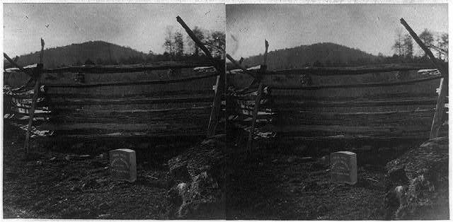 "[Marker by fence reading ""Here fell Henry C. Merwin, Lt. Col., 27th Conn. vols.,"" Gettysburg, Pa.]"