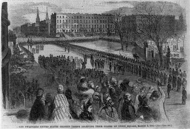 The Twentieth United States colored troops receiving their colors on Union Square, March 5, 1864