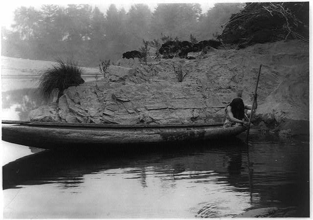 Fishing from canoe--Hupa