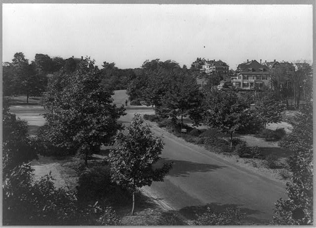 [Arborway, west from Forest Hills Station or from Centre Street, Jamaica Plain, Boston, Massachusetts]