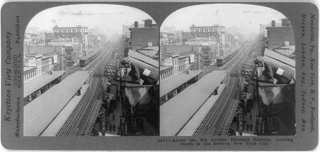 Above the 3rd Avenue Elevated Railway, looking north in the Bowery, New York City