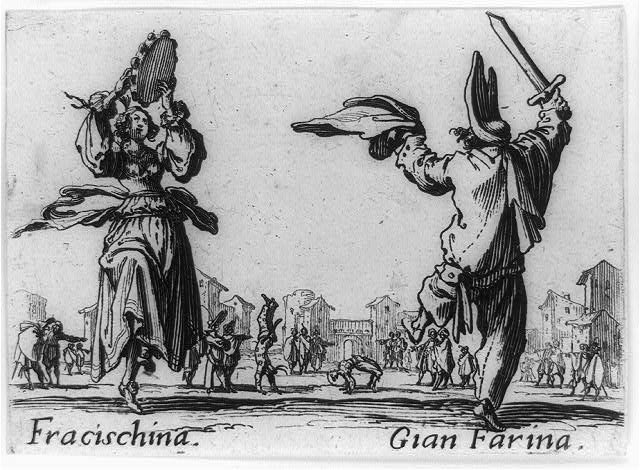 [Fracischina with tamborine dancing with Gian Farina who is holding sword]