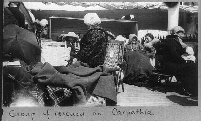 [Group of survivors of the Titanic disaster aboard the Carpathia after being rescued]