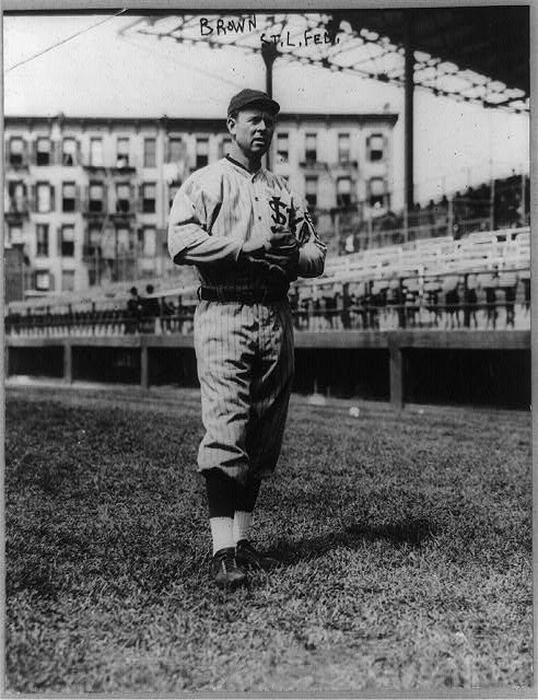 [Mordecai Peter Centennial Brown, baseball player for the St. Louis Federals, full-length portrait, standing, facing slightly right, in uniform]