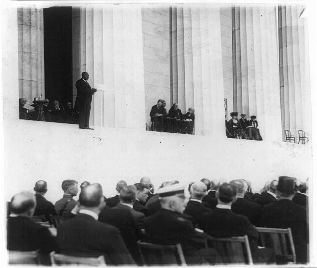 Dr. Moton, principal of the Tuscagee [sic] Inst. at the Lincoln Memorial dedication excercises [sic]