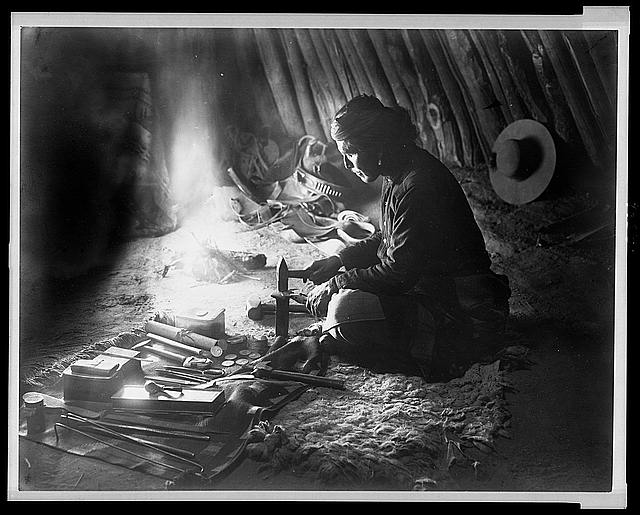 Navajo silversmith