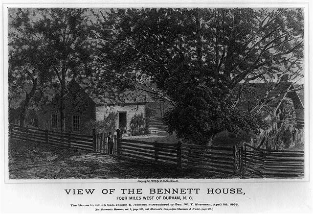 View of the Bennett House, four miles west of Durham, N.C. The house in which Gen. Joseph E. Johnston surrendered to Gen. W.T. Sherman, April 26, 1865