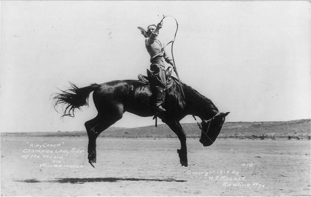"""Kitty Canutt"" champion lady rider of the world on Winnemucca"