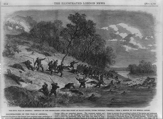 The Civil War in America--retreat of the Federalists after the fight at Ball's Bluff, upper Potomac, Virginia