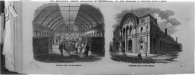 The Mercantile Library Association of Philadelphia, Pa. [interior and exterior views]