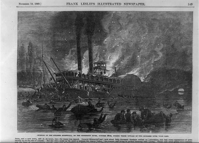 Burning of the steamer Stonewall, on the Mississippi River, October 28th, during which upward of two hundred lives were lost