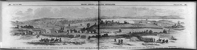 The Rebel forces under General Jackson advancing upon the Rappahannock Station at the river - National batteries replying to the Rebel artillery, August 23, being the commencement of the battles between Gens. Pope and Lee and Jackson, ending at Bull Run, August 30