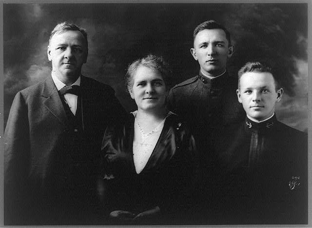 [Josephus Daniels, half-length portrait, standing, facing front, with his wife Addie Bagley Daniels and their two sons]