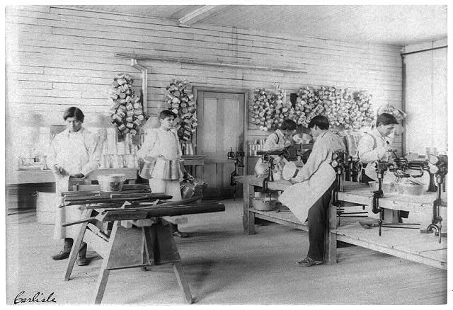 [Five boys making tin utensils, Carlisle Indian School, Carlisle, Pa.]