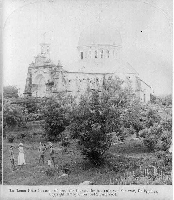 "[Manila, P.I., 1899: ""La Loma Church (3 soldiers in graveyard)""]"