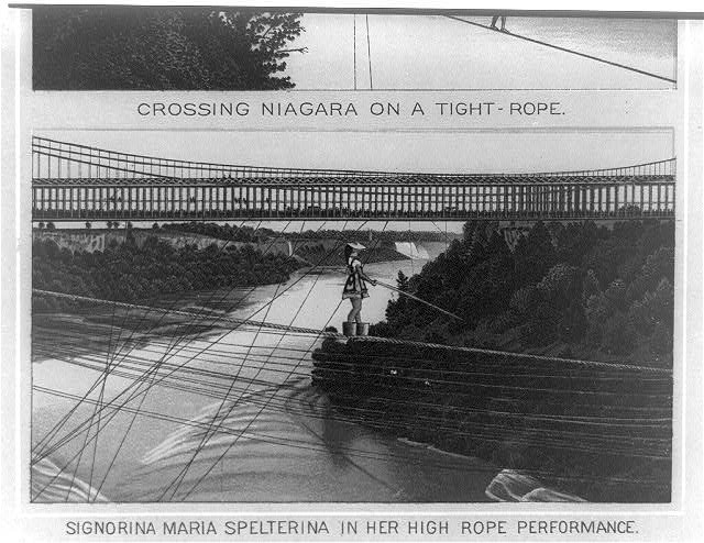 Signorina Maria Spelterina in her high rope performance [over Niagara Falls]